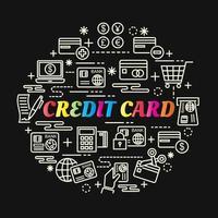 creditcard kleurrijke kleurovergang belettering met lijn pictogrammen vector