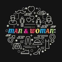 man en vrouw kleurrijke kleurovergang belettering met lijn pictogrammen vector