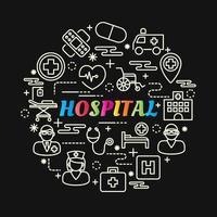 ziekenhuis kleurrijke verloop belettering met lijn pictogrammen vector