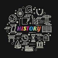 geschiedenis kleurrijke gradiënt belettering met lijnpictogrammen vector