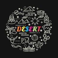 woestijn kleurrijke gradiënt belettering met lijn pictogrammen vector