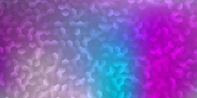 lichtroze, blauwe vectorachtergrond met zeshoekige vormen. vector