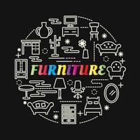 meubels kleurrijke kleurovergang belettering met lijnpictogrammen vector
