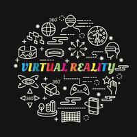 virtuele realiteit kleurrijke gradiënt belettering met lijnpictogrammen vector