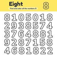 educatief werkblad voor kinderen, kleuterschool, voorschoolse en leerplichtige leeftijd. nummers. zoek en kleur. vector