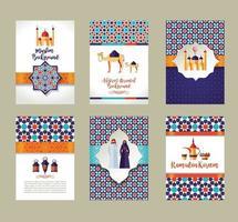banners set van islamitische viering. ramadan kareem en eid mubarak. vector