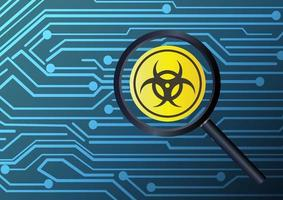 vergrootglas vinden virus besmet met printplaat achtergrond vector