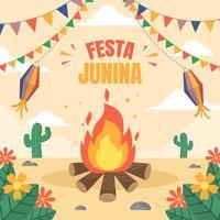 festa junina platte achtergrondontwerp vector