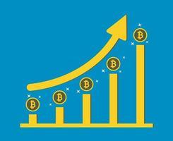 zakelijke bitcoin concept groeigrafiek op medaille bitcoin achtergrond. vector illustrator