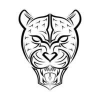 zwart-wit lijntekeningen van brullende luipaardkop. goed gebruik voor symbool, mascotte, pictogram, avatar, tatoeage, t-shirtontwerp, logo of elk gewenst ontwerp. vector
