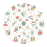 sociale media icon set vector design