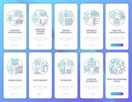 slimme werkruimte onboarding mobiele app-paginascherm met ingestelde concepten vector