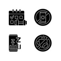 aanbevelingen om slapeloosheid te voorkomen zwarte glyph-pictogrammen ingesteld op witte ruimte vector