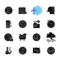 slapeloosheid veroorzaakt zwarte glyph-pictogrammen op witte ruimte vector
