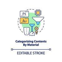inhoud categoriseren op materiaalconceptpictogram vector