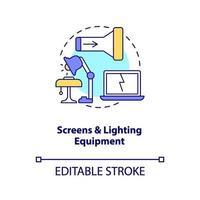 schermen en verlichtingsapparatuur concept pictogram vector