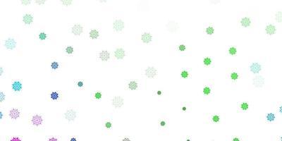 lichtroze, groen vectorpatroon met gekleurde sneeuwvlokken. vector