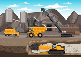 landschap van kolenwinning met ondergrondse scène vector