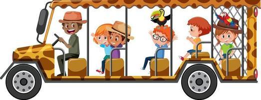 safariconcept met kinderen in de toeristenauto die op witte achtergrond wordt geïsoleerd vector