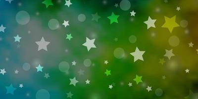 lichtblauw, groen vectorpatroon met cirkels, sterren. vector