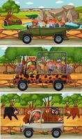 set van verschillende safari horizontale scènes met dieren en kinderen stripfiguur vector