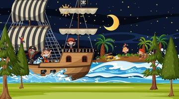 Treasure Island-scène 's nachts met piratenkinderen op het schip vector