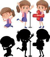 stripfiguur van een meisje dat verschillende activiteiten doet vector