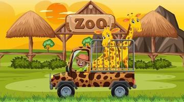 safari in de scène van de zonsondergangtijd met giraffen in de kooiauto vector