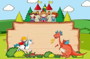 lege houten banner in de bosscène met het karakter en de elementen van het sprookjesbeeldverhaal vector