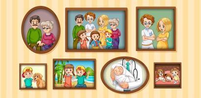 set van gelukkige familiefoto op het houten frame vector