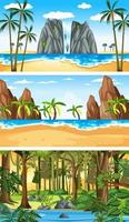 drie verschillende natuur horizontale scènes vector