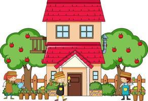 vooraanzicht van een huis met veel kinderen op witte achtergrond vector