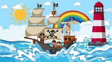 strand met piratenschip overdag in cartoon-stijl vector