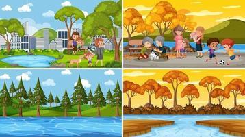 vier verschillende scènes met kinderen stripfiguur vector