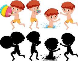 set van een jongen stripfiguur in verschillende posities met zijn silhouet vector