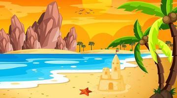 tropisch strandlandschap bij de scène van de zonsondergangtijd vector