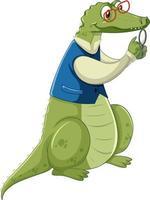 nerdy krokodil stripfiguur geïsoleerd op een witte achtergrond vector