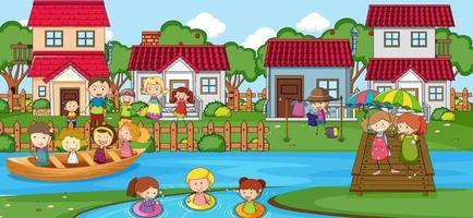 buitenscène met veel kinderen die in het park spelen vector