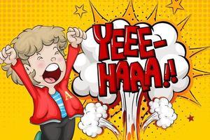 yeee haa woord op explosieachtergrond met het karakter van het jongensbeeldverhaal vector