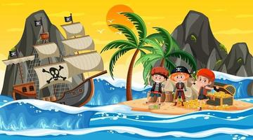 Treasure Island-scène in zonsondergangtijd met piratenkinderen vector