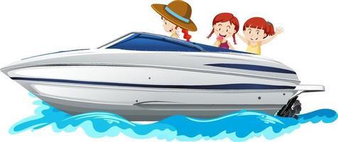 kinderen staan op een speedboot op witte achtergrond vector