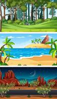 set van verschillende natuur horizontale scènes vector