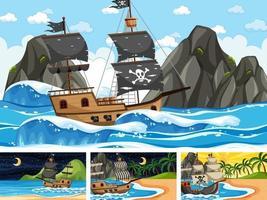 set oceaanscènes op verschillende tijdstippen met piratenschip in cartoon-stijl vector