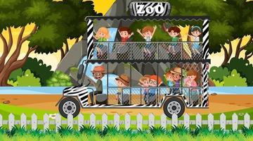 safari bij zonsondergang tijdscène met kinderen op toeristenauto vector