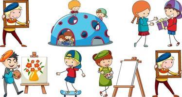 set van verschillende doodle kinderen stripfiguur vector