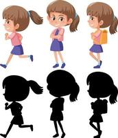 set van een stripfiguur meisje in verschillende posities met zijn silhouet vector