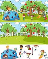 speeltuin scène set met veel kinderen doodle stripfiguur geïsoleerd vector