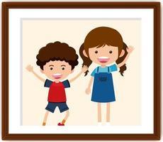 stripfiguur van jongen en meisje in een fotolijst vector