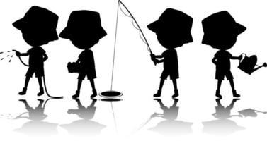 aantal kinderen silhouet met reflex op witte achtergrond vector