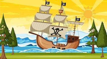 oceaan met piratenschip in de scène van de zonsondergangtijd in cartoonstijl vector